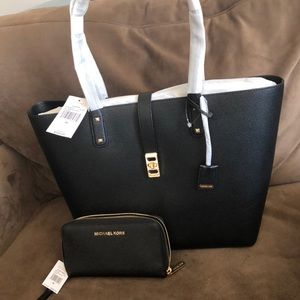 NWT Authentic Michael Kors black purse and wallet